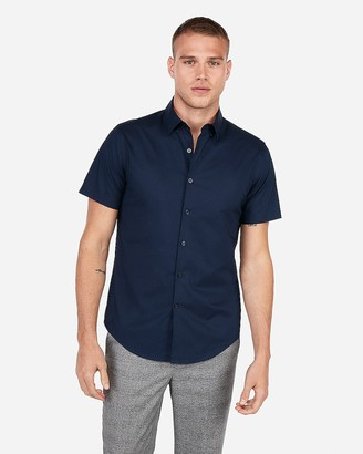 Express Slim Short Sleeve Button Down Dress Shirt
