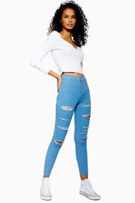 Topshop Womens Bleached Super Rip Joni Jeans
