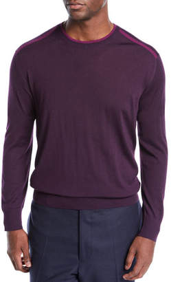 Stefano Ricci Men's Contrast-Piping Crewneck Sweater
