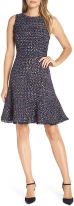 Eliza J Sleeveless Tweed Fit & Flare Dress