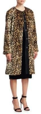 Scripted Leopard-Print Faux Fur Jacket
