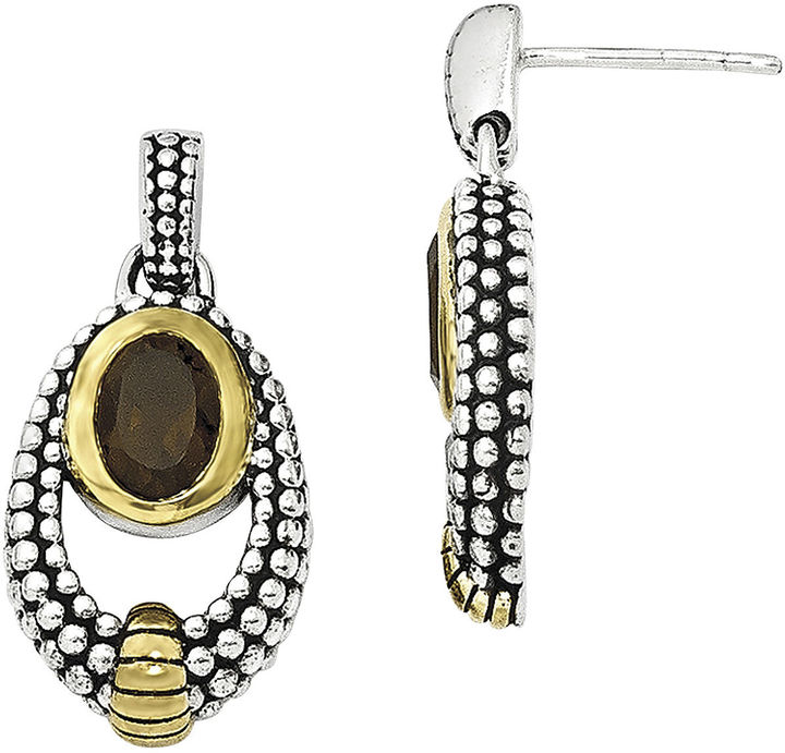 FINE JEWELRY Shey Couture Smoky Quartz Sterling Silver Antiqued Drop Earrings