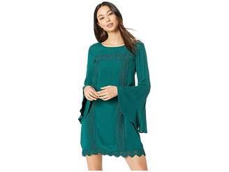BB Dakota Aquarius Rayon Crepe Dress with Lace Ribbon Trim