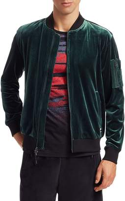 Madison Supply Zip-Up Velvet Bomber Jacket