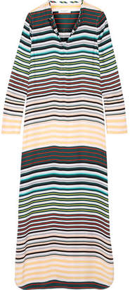 Equipment - Niko Striped Washed-silk Maxi Dress - Teal $420 thestylecure.com