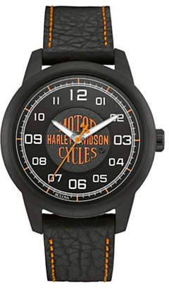 Harley-Davidson The Decal Collection Emblem Leather Strap Watch