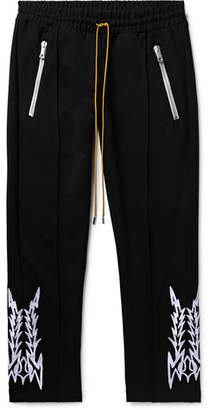 Rhude Traxedo Slim-Fit Tapered Cropped Embroidered Satin-Jersey Trousers