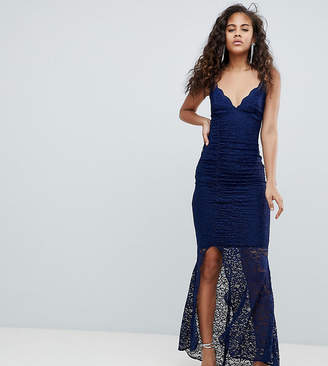 Asos Tall DESIGN Tall deep plunge lace bodycon maxi dress with fishtail