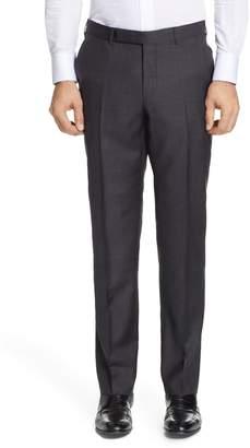 Ermenegildo Zegna Flat Front Solid Wool Blend Trousers