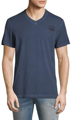 G Star G-Star Doax V-Neck Heathered Jersey T-Shirt, Blue