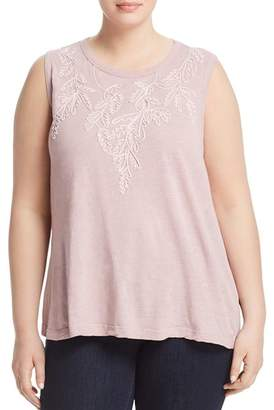 Lucky Brand Plus Tonal-Embroidered Tank