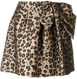 P.A.R.O.S.H. leopard print flared mini skirt