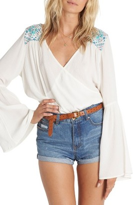 Women's Billabong New Ways Embroidered Bell Sleeve Top $54.95 thestylecure.com