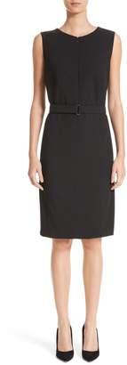 Akris Punto Belted Zip Front Wool Dress