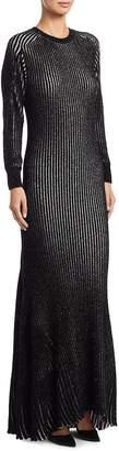 Loewe Women's Lurex Rib-Knit Gown