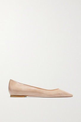 Jimmy Choo Romy Patent-leather Point-toe Flats - Neutral