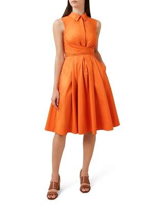 Hobbs Orange 'Alesha' Knee Length Shirt Dress