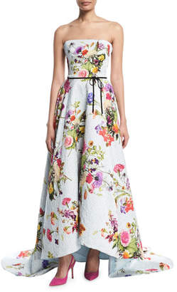 Monique Lhuillier Strapless Dotted Floral-Print Jacquard High-Low Evening Gown w/ Train