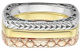 Simply Stacks Sterling Tri-Color Square Ring Se