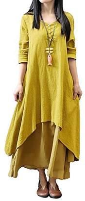 Romacci Women Casual Loose Dress Cotton Linen Boho Long Maxi Dress