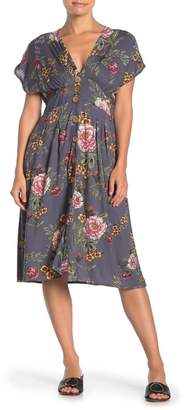 Angie Floral Button Front Midi Dress