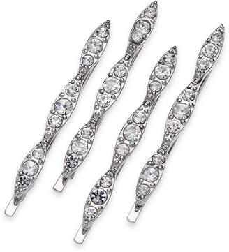 INC International Concepts I.N.C. Silver-Tone 4-Pc. Set Crystal Bobby Pins, Created for Macy's