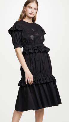 PASKAL clothes Short Sleeve Frilled Dress with Floral Appliques