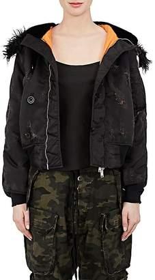 Taverniti So Ben Unravel Project Women's Fur-Trimmed Bomber Jacket