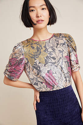 Anthropologie Marie Floral Sequined Blouse