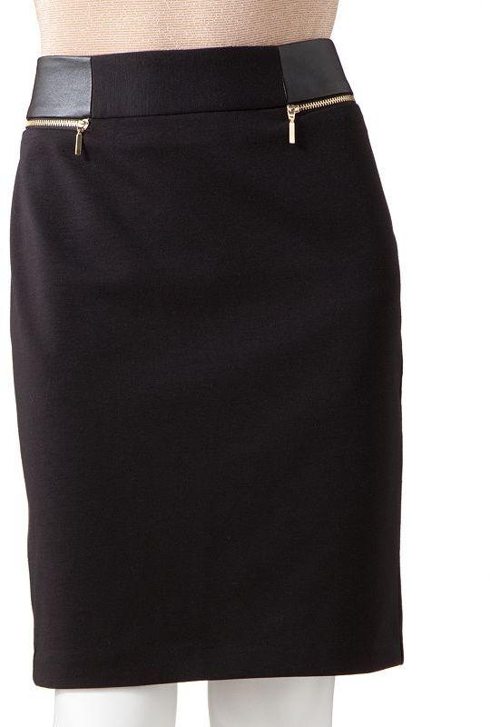 JLO by Jennifer Lopez faux-leather pencil skirt - petite