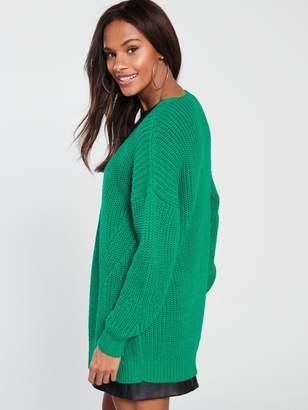 Very Rib Slouch Cardigan - Green