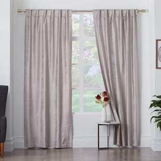 west elm Cotton Luster Velvet Curtain - Platinum