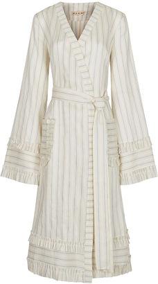 Flow The Label Cream & Blue Striped Wrap Dress