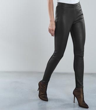 Reiss Valerie - Leather Ponte Leggings in Black