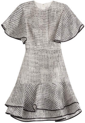 Jason Wu Woodgrain Raffia Organza Short Sleeve Bias Ruffle Dress