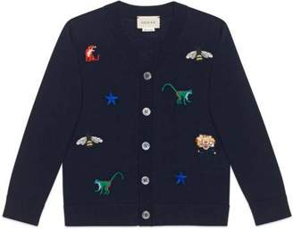 Gucci Children's embroidered wool cardigan
