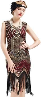 de0b6b6002f05 BABEYOND Women s Flapper Dresses 1920s V Neck Beaded Fringed Great Gatsby  Dress