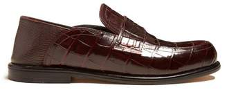Loewe Foldable Heel Crocodile Effect Leather Loafers - Womens - Burgundy