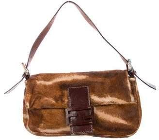 Fendi Leather-Trimmed Ponyhair Baguette