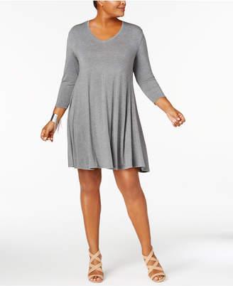 Style&Co. Style & Co Plus Size V-Neck A-Line Swing Dress