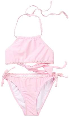 Snapper Rock Ballet Pink with Gold Dots Halter Bikini (Toddler, Little Girls, & Big Girls)