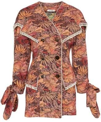 ATTICO Jacquard Tassel Cotton Mini Dress