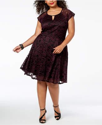 City Studios Trendy Plus Size Lace Fit & Flare Dress