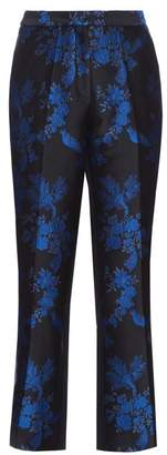 Stella McCartney Floral Brocade Cropped Trousers - Womens - Black Multi