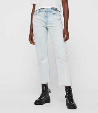 AllSaints Ava Acid Cropped High-Rise Straight Jeans, Light Indigo Blue