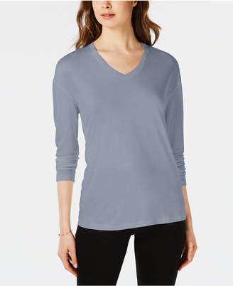 Maison Jules Dropped Shoulder V-Neck Jersey Top, Created for Macy's