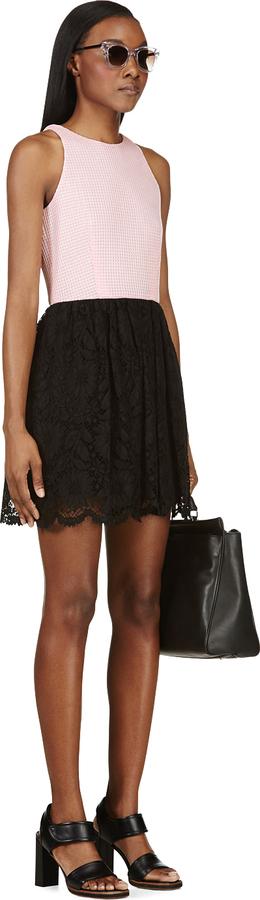 MSGM Pink & Black Perforated Bodice Dress
