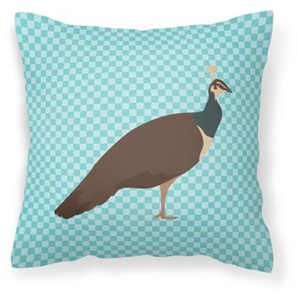 Caroline's Treasures Indian Peahen Peafowl Blue Check Fabric Decorative Pillow