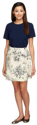 Denim & Co. Stretch T-shirt and Stretch Classic Waist Printed Skort