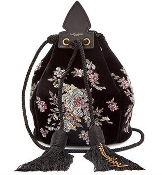 Anja bead and sequin-embellished velvet clutch